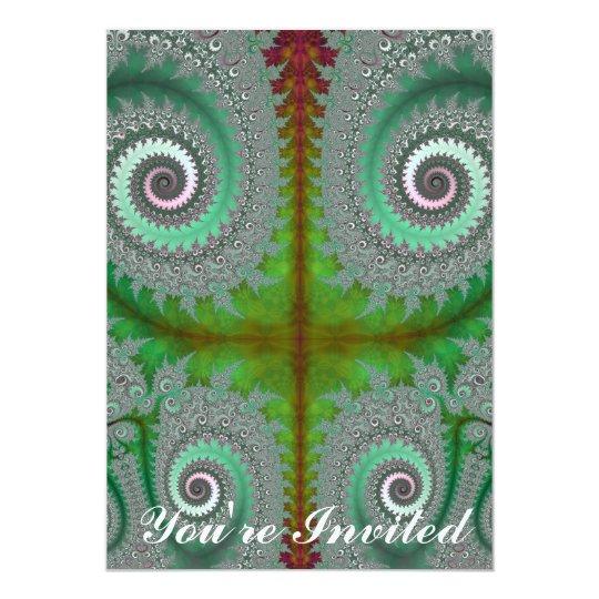 Peacock Fern Unfurling Fractal Card