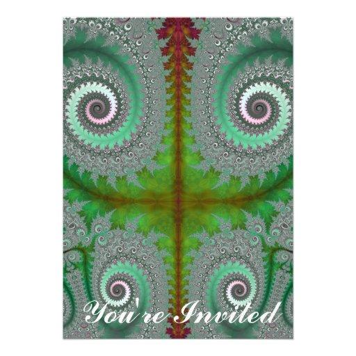 Peacock Fern Unfurling Fractal Custom Invites