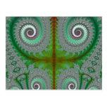 Peacock Fern Unfurling Fractal Postcard