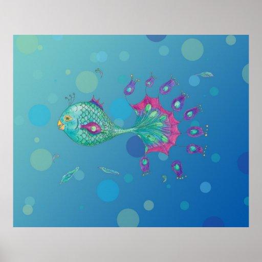 Peacock Fish Poster