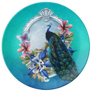 """Peacock & Floral 10.75"""" Decorative Porcelain Plate"""