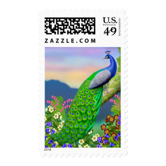 Peacock Floral Paradise Postage