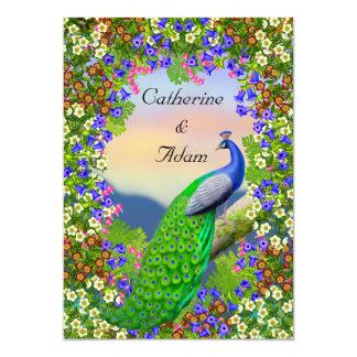 Peacock Floral Paradise Wedding Invitation