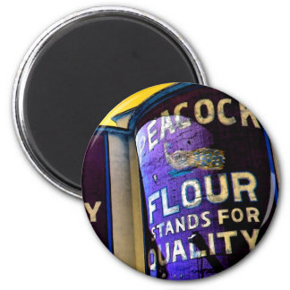 Peacock Flour 2 Inch Round Magnet