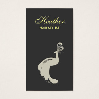 PEACOCK FLOURISH TAN/GRAY BUSINESS CARD