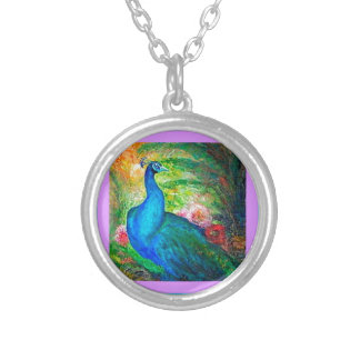 Peacock Flowers Garden by Sharles Round Pendant Necklace