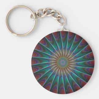 Peacock Fractal Basic Round Button Keychain