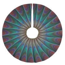 Peacock fractal brushed polyester tree skirt