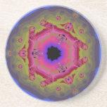 Peacock Fractal Mandala Pink Green Drink Coasters