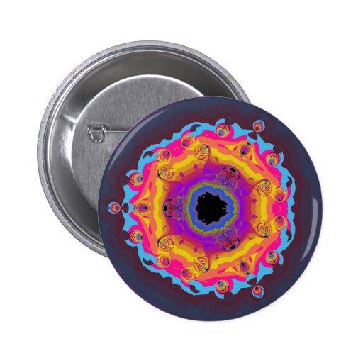 Peacock Fractal Mandala Yellow Pink Purple 2 Inch Round Button