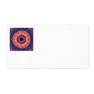 Peacock Fractal Mandala Yellow Pink Purple Label