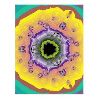Peacock Fractal Yellow Purple Postcard