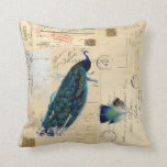 Peacock French Postcards Pillow