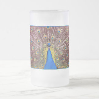 Peacock Frosted Glass Beer Mug