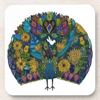 peacock garden drink coaster