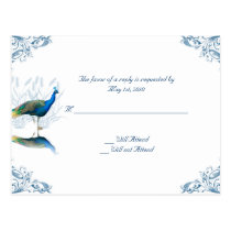 Peacock Garden in Blue and White Post Card