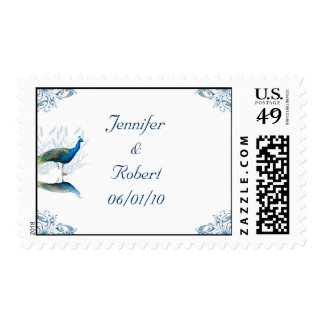 Peacock Garden in Blue and White Postage Stamp
