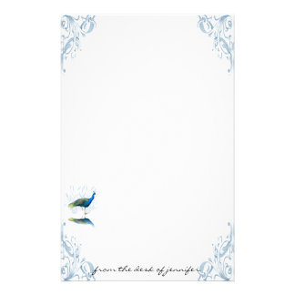 Peacock Garden in Blue and White Stationery
