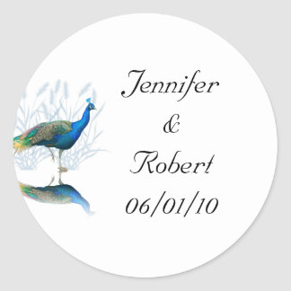 Peacock Garden in Blue and White Classic Round Sticker
