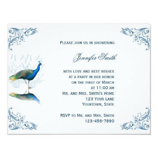 peacock wedding bridal gown shower feather invite invitations