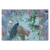Peacock Garden wisteria blue lavender pink Tissue Paper