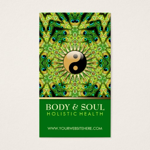 Peacock Geometry YinYang NewAge Business Cards