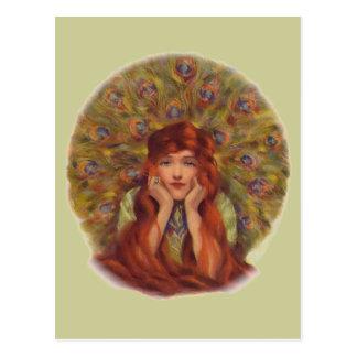 Peacock Girl Postcard