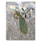 Peacock Glam Monogram Notebook