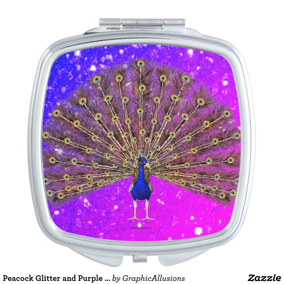 Peacock Glitter and Purple Sparkles Compact Mirror
