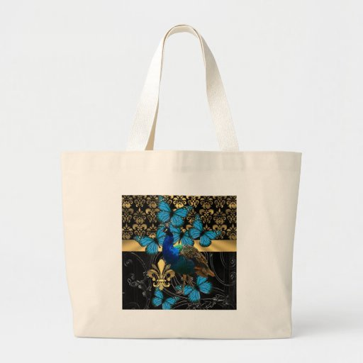 Peacock & gold damask tote bag