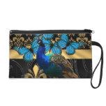 Peacock & gold damask wristlet purse