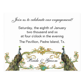 Peacock & Gold Engagement Party Invitation Postcard