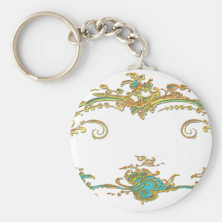 Peacock & Gold Filigree Basic Round Button Keychain