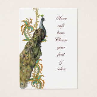 Peacock Gold Filigree Business/Table Place Card