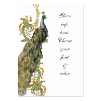 Peacock Gold Filigree Business/Table Place Card Business Card Templates