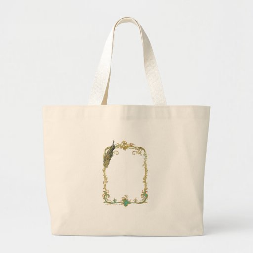 Peacock & Gold Filigree Canvas Bags
