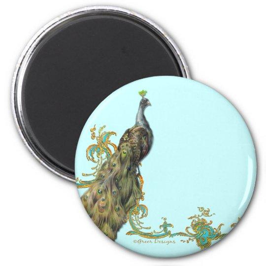 Peacock & Gold Filigree Magnet