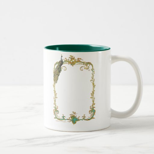Peacock & Gold Filigree Mugs