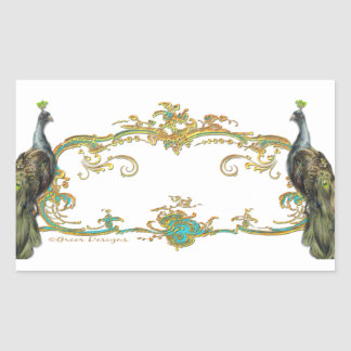 Peacock & Gold Filigree Rectangular Sticker