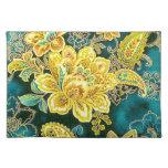 Peacock Gold Vintage Paisley Floral Fine Art Placemats
