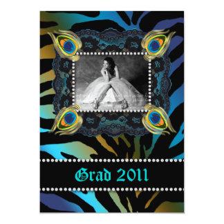 Peacock Grad Birthday Party Zebra Lace Blue 5x7 Paper Invitation Card