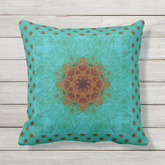 Peacock Green and Rust Graphic Floral Mandala Outdoor Pillow
