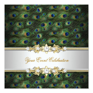 Peacock Green Blue Gold Elegant Party Card