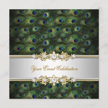 Peacock Green Blue Gold Elegant Party Invitation