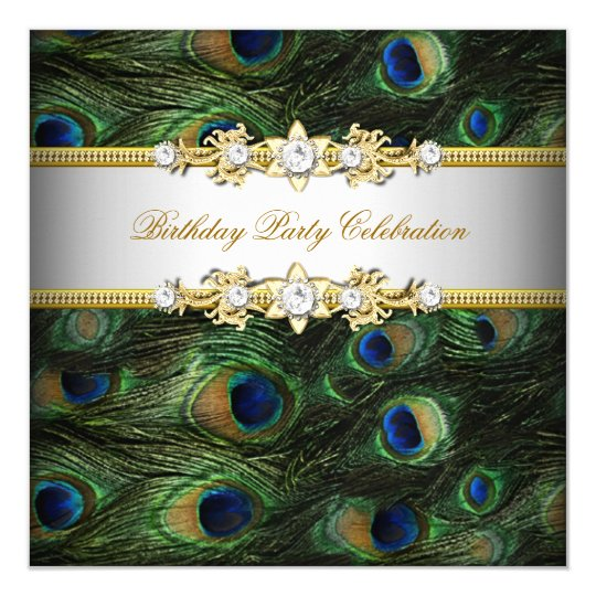 Peacock Green Blue Gold White Elegant Party Card