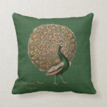 """Peacock Green Emerald 55th Wedding Anniversary Throw Pillow<br><div class=""""desc"""">Featured here is a beautiful vintage Peacock illustration with a full plume of feathers. It is featured on a vintage green background.. There is a template text field where you can add names, occasion and a greeting if desired. It is a wonderful commemorative gift for engagement, wedding, wedding anniversary. It...</div>"""