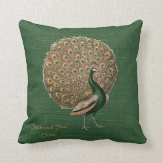 Peacock Green Emerald 55th Wedding Anniversary Throw Pillow