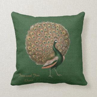 Peacock Green Emerald 55th Wedding Anniversary Throw Pillow