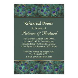 Peacock green purple Rehearsal Dinner Invitation