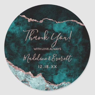 Peacock Green & Rose Gold Foil Agate Thank You Classic Round Sticker